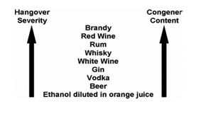 impact de la teneur en congénères de différents alcools sur la gueule de bois